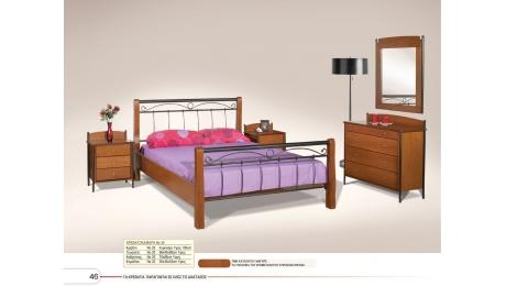 Διπλό κρεβάτι ξύλο-μεταλο No20