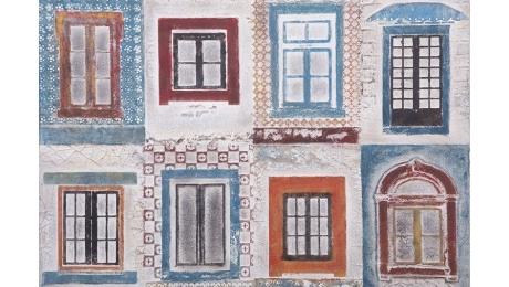 """Ελαιογραφία """"Παράθυρα"""" 674-3050 80x120cm"""